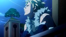 Sting pensando en su combate con Natsu