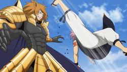 Loke y Natsu empiezan a luchar