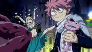 Lucy and Natsu's reaction after Sugarboy takes the key