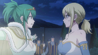 Hisui and Lucy argue about the gate