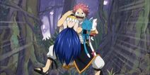Natsu llega con wendy donde erza