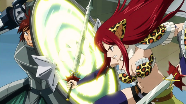 File:Dan parrying Erza's attack with his Ricochet.png