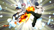 Natsu breaks Gray's Ice-Make Shield