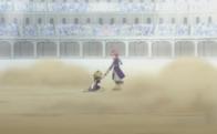 Natsu ayuda a Lucy a levantarse