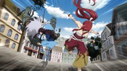 Erza y Kagura corren hacia el puerto