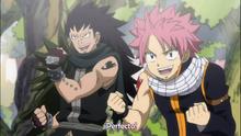 Natsu y Gajeel emocionados por su pelea con Laxus