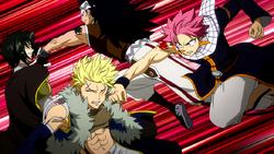 Natsu y Gajeel golpean a Sting y Rogue