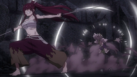 Erza slashes through Kyôka