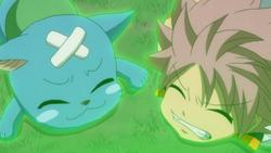 Happy y Natsu son afectados por la magia de Libra