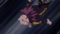 Igneel throws Natsu towards Mard Geer
