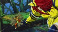 Erza throws Azuma down