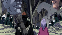 Gildarts and Laki confronted by wood dolls