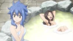 Levy y Kana en los baños de Blue Pegasus