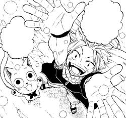 Natsu y Happy observan la nieve