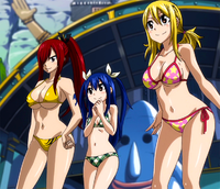 Erza and the rest of Fairy Tail arrive at the pool for some fun