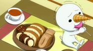 Plue eating candy
