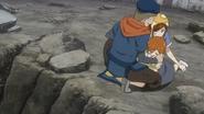 The blacksmith protecting the family
