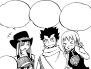 Mages cheer on Natsu and Elfman