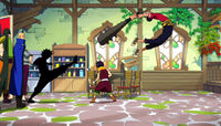 Natsu kicks Thibault