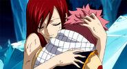 Erza hugging Natsu