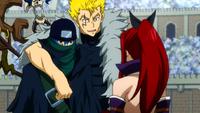 Laxus, Erza i Jellal rozmawiają o Mystoganie