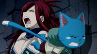 Happy hits Erza Scarlet