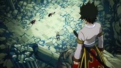 Rogue ve la derrota de Natsu y Gajeel