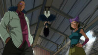 Gajeel's team confronts Lucy and Reedus