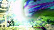 Erza blocks a blast from Jupiter