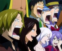 Fairy Tail celebrando su victoria
