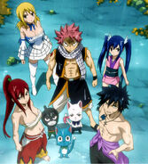 Team Natsu arrives at the airship