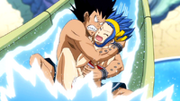 Gajeel and Levy at the slide