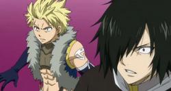 Rogue y Sting sorprendidos por la intrusión de Natsu