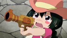 Asuka dispara a los bandidos