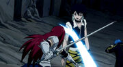 Erza ataca a Midnight