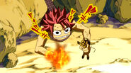 Natsu's face when he want to put Lucy into fire
