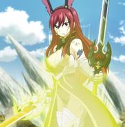 Erza requips her Rabbit Armor