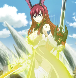 Erza requips her Rabbit Armor