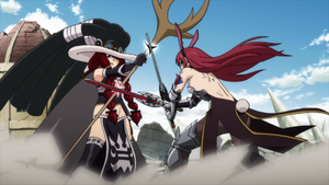 Erza and Irene clash