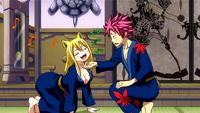 Natsu pets Lucy