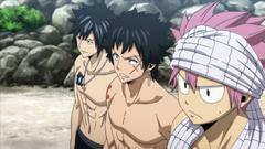 Natsu, Gray y Mest como miembros de Cait Shelter
