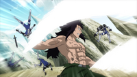 Gajeel saves Jet and Droy