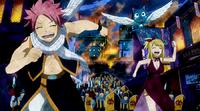 Lucy, Natsu and Happy escape