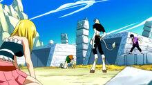Lucy, Gray y Loke pelean con Caprico