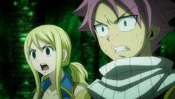 Lucy y Natsu Sorprendidos al Conocer a Lucy del Futuro