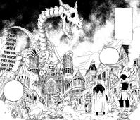 Mavis and her friends reach a barren Magnolia Town