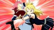 Lucy hugs Natsu