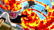 Natsu attacks the Twin Dragons