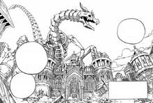 Esqueleto de dragón sobre la Catedral de Kardia