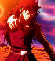 Gajeel pointing at Lily